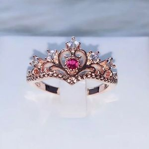 ARRIVED Rose Gold Princess Crown Ring Pink Accents